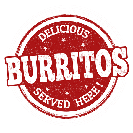 Burritos sign or stamp on white background, vector illustration Çizim