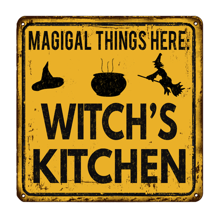 old fashioned: Witchs kitchen vintage rusty metal sign on a white background, vector illustration Illustration