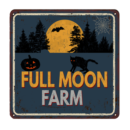 Full moon farm vintage rusty metal sign on a white background, vector illustration