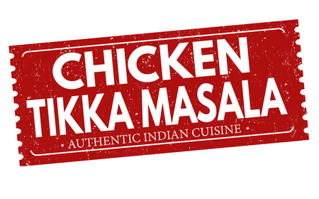 Chicken tikka masala grunge rubber stamp on white background, vector illustration