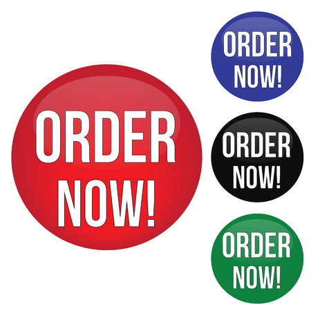 marketing online: Order now round website glossy buttons set on white background, vector illustration