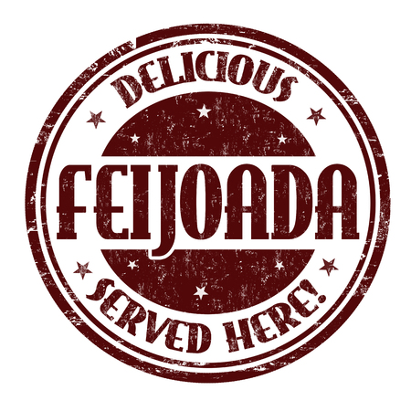 Feijoada sign or stamp on white background, vector illustration Çizim