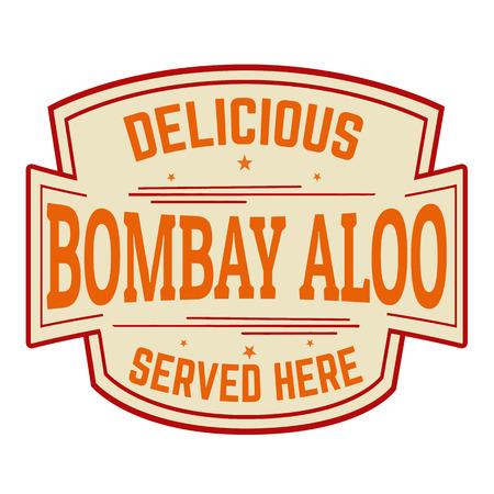 Bombay aloo sticker or label on white background, vector illustration