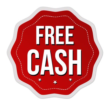 cash: Free cash sticker or label on white background, vector illustration Illustration