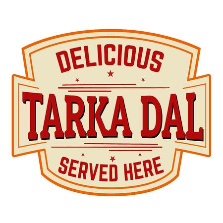 Tarka Dal sticker or label on white background, vector illustration