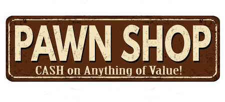 Pawn shop vintage rusty metal sign on a white background, vector illustration Çizim