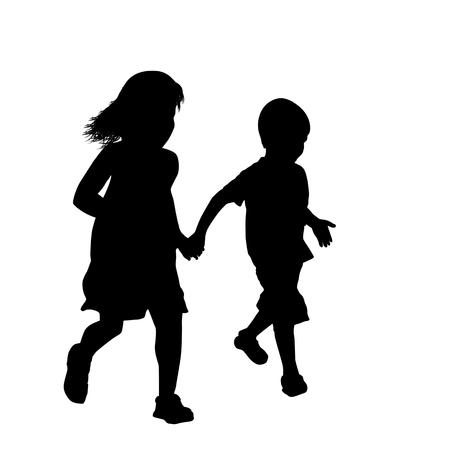 白い背景に一緒に走っている小さな男の子と女の子のシルエット、ベクトルイラスト