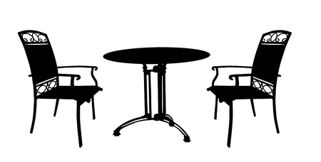 Table and chairs on white background, vector illustration