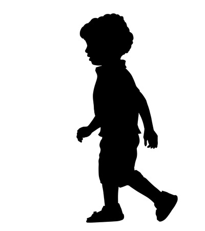 A little boy silhouette on white background, vector illustration