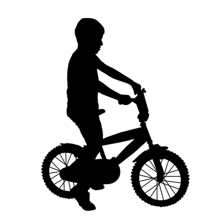 Young boy on bike silhouette on white background, vector illustration