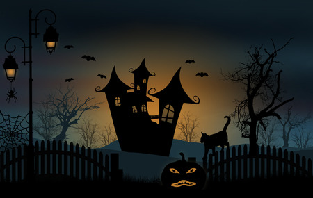 Halloween with haunted house illustration