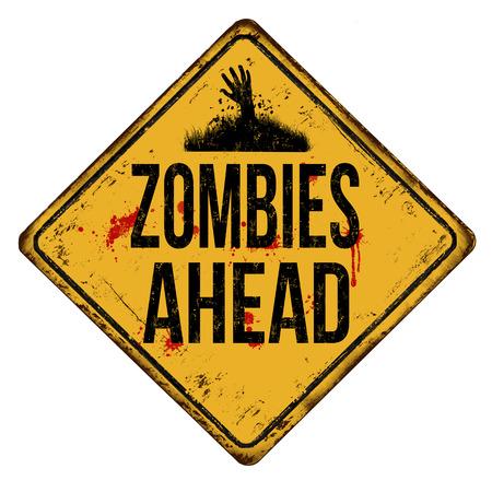 Zombies delante signo de metal oxidado de la vendimia sobre un fondo blanco, ilustración vectorial Ilustración de vector