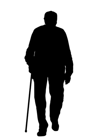 Old man silhouette on white background, vector illustration Ilustracja