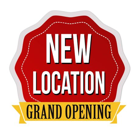 New location, grand opening sticker or label on white background, vector illustration Illustration