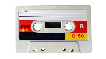 gros plan de cassette audio vintage sur fond blanc Banque d'images