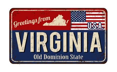 tin: Greetings from Virginia vintage rusty metal sign on a white background, vector illustration
