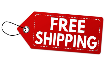 paper note: Free shipping red label or price tag on white background, vector illustration Illustration