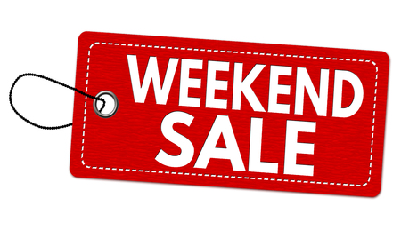 paper note: Weekend sale label or price tag on white background, vector illustration Illustration