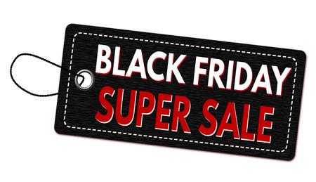 paper note: Black friday super sale label or price tag on white background, vector illustration Illustration