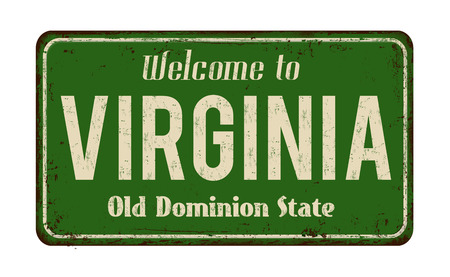 tin: Welcome to Virginia vintage rusty metal sign on a white background, vector illustration