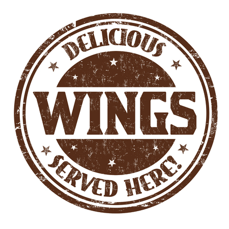 Delicious wings sign or stamp on white background, vector illustration Illustration