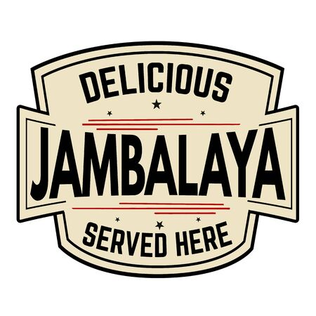 Delicious Jambalaya label or icon on white background, vector illustration