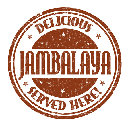 Delicious Jambalaya sign or stamp on white background, vector illustration