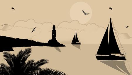 Yachts and lighthouse design illustration.