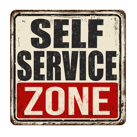 Self service zone vintage rusty metal sign on a white background, vector illustration