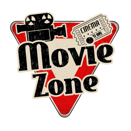 Movie zone vintage rusty metal sign on a white background, vector illustration Illustration