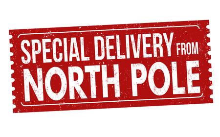 Specjalna dostawa z bieguna północnego pieczątka grunge na białym tle, ilustracji wektorowych