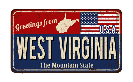 Greetings from West Virginia vintage rusty metal sign on a white background, vector illustration