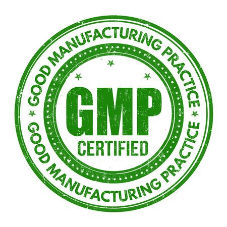 Timbro di gomma di lerciume di buona fabbricazione (GMP) su fondo bianco, illustrazione di vettore Vettoriali