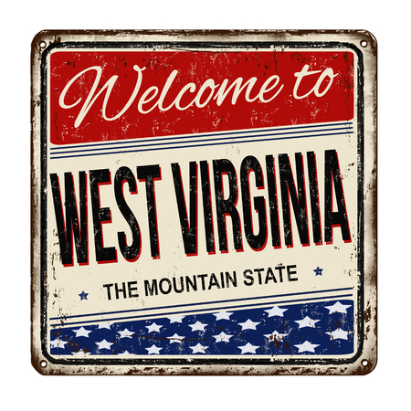 Welcome to West Virginia vintage rusty metal sign on a white background, vector illustration