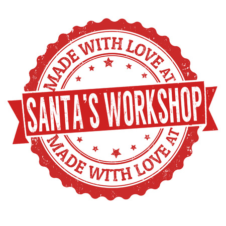 Made with love at Santa's Workshop grunge rubber stamp on white background, vector illustration