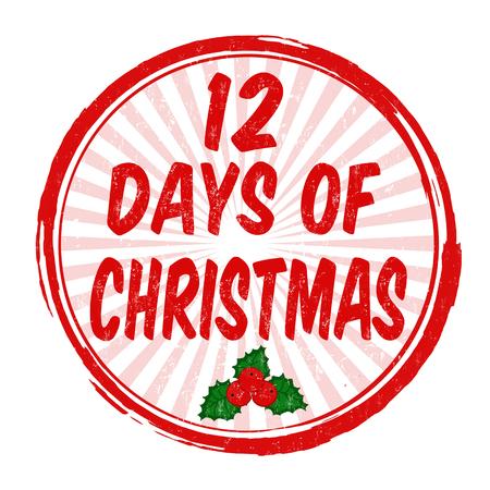 12 days of Christmas grunge rubber stamp on white background, vector illustration Illustration