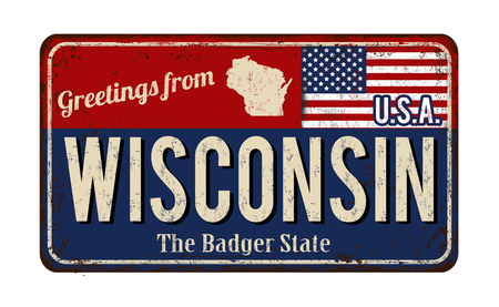 Greetings from Wisconsin vintage rusty metal sign on a white background, vector illustration Illustration