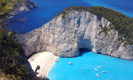 Navagio bay and Ship Wreck beach in a sunny day of summer