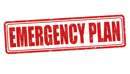 Emergency plan grunge rubber stamp on white background, vector illustration