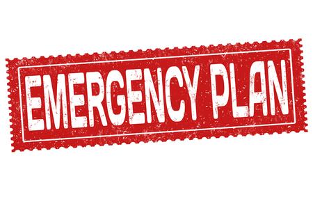 Emergency plan grunge rubber stamp on white background, vector illustration Vetores