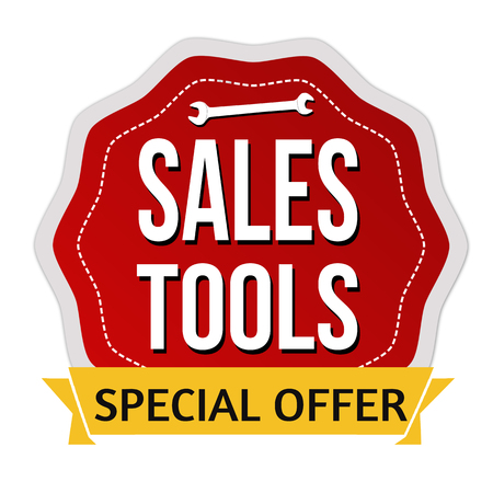 Sales tools label or sticker on white background, vector illustration