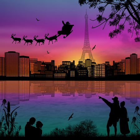 People at night in Paris with santa claus and deers silhouettes flying over a city, vector illustration