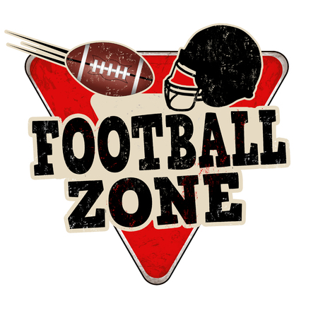 Football zone vintage rusty metal sign on a white background, vector illustration