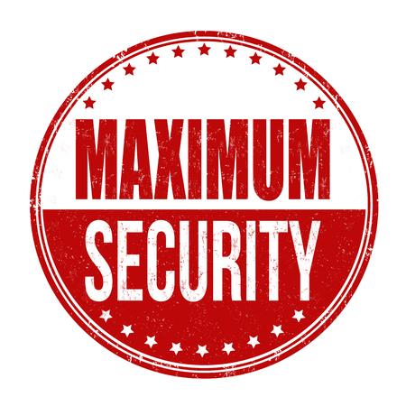 Maximum security grunge rubber stamp on white background, vector illustration Ilustrace