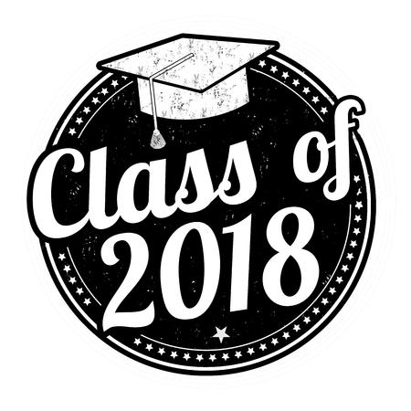 Class of 2018 grunge rubber stamp on white, vector illustration Иллюстрация