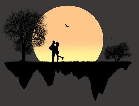 Amantes en frente una luna llena, ilustración vectorial Foto de archivo - 89310456