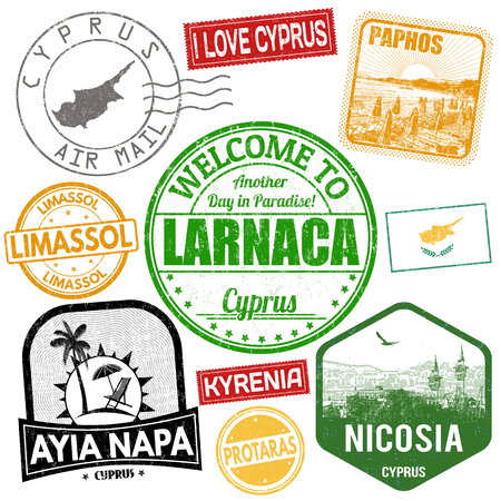 Set of travel grunge stamps with Cyprus on white background, vector illustration