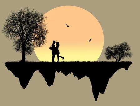 Amantes en frente una luna llena, ilustración vectorial Foto de archivo - 89310462