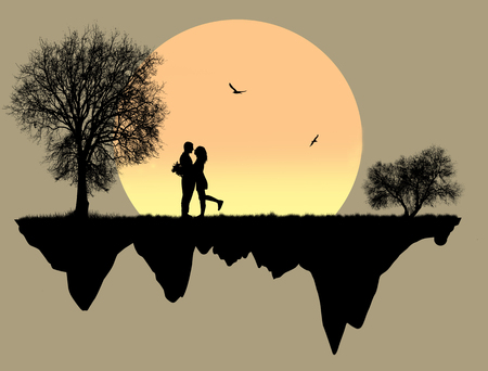 Lovers in front a full moon, vector illustration