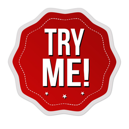 Try me sticker or label on white background, vector illustration